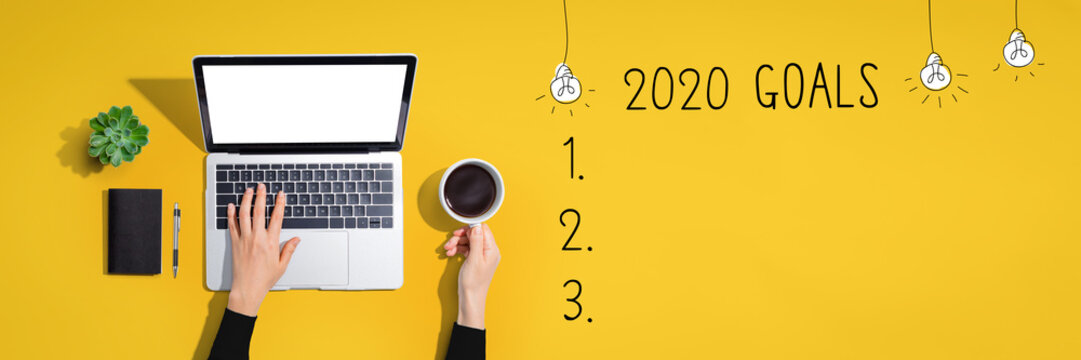 2020 goals with person using a laptop computer