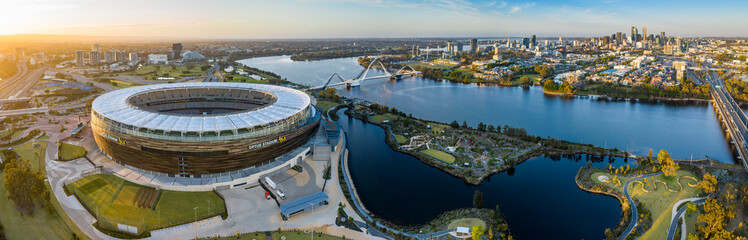 Perth Australia November 5th 2019: Panoramic aerial view of the Optus stadium and Matagarup bridge with the city of Perth, Western Australia in the background