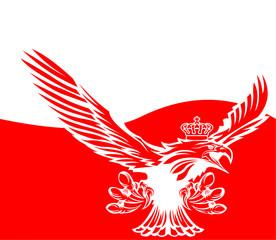 Polish flag with a crowned eagle - Polish eagle - Poland flag - nation - homeland - symbol
