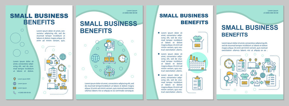 Small business benefits brochure template. Flyer, booklet, leaflet print, cover design, linear illustrations. Entrepreneurship. Vector page layouts for magazines, annual reports, advertising posters