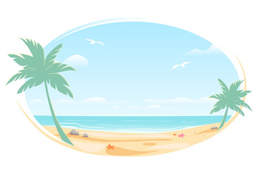 Tropic landscape Poster, oval frame for banner design. Sunny Paradise template illustration with copy space. Summer vacation traveling beach ocean. Greeting card. Vector White background isolated.