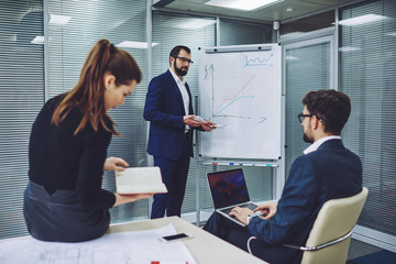 Professional economist standing near white board with graphic and explaining information for project, successful business people collaborating togetherness and solving problems together in company