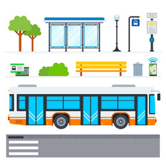 City bus vector flat icons set with public transport stop on white