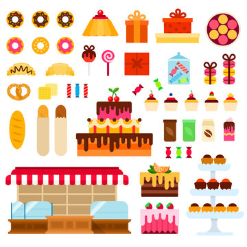 Confectionery shop vector flat illustration. Set with donuts, cake, macaroon, cupcakes, bread, candy for website (shop). Isolated on white