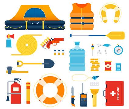 Set of Boat safety kit, Life raft, float flat vector illustration.