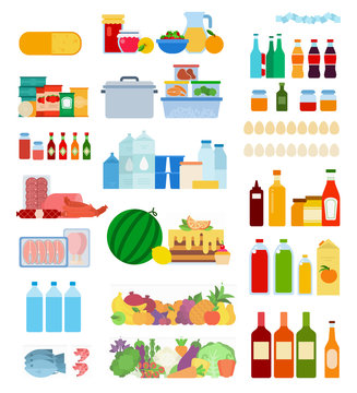 Set of Inside Refrigerator icons flat vector