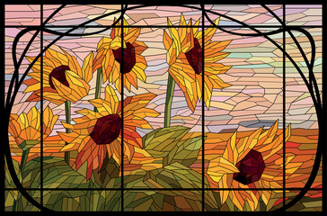 Stained glass window sunflowers in a frame. Autumn evening in the field. Warm pink and yellow color shades. Vector hand drawing full color