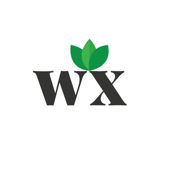 Initial Letter wx Green Leaf Logo Design Template. Green Design Logo Concept