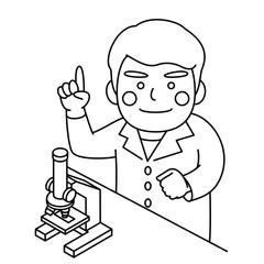 白衣男性顕微鏡