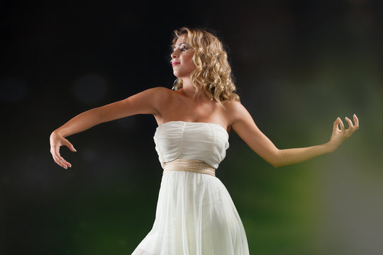 ballet dancer in ecstasy on stage