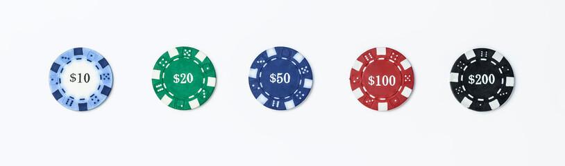 Set of poker chips isolate