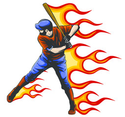 Illustration of a american baseball player batting cartoon style isolated on white with ball on fire in background.