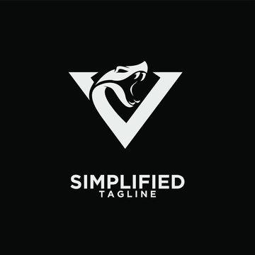 modern viper head with initial v logo icon design vector
