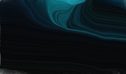 smooth swirl waves background design with black, teal and dark slate gray color Fototapete