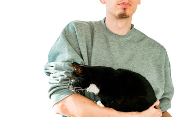 Man holds in hand a black and white cat who looks somewhere. Curious cat. Isolated on a white background. Gray sweatshirt
