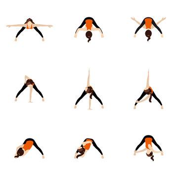 Wide legged forward bend twist variations yoga asanas set/ Woman practicing parivrtta prasarita padottanasana
