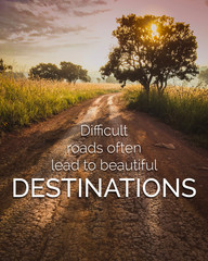 Poster Positive Typography Inspirational and motivation quote on road in nature background with vintage filter.