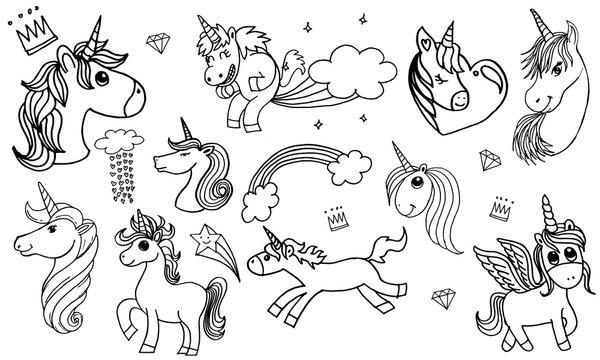 doodle style illustration hand drawn of unicorn set isolated on white background