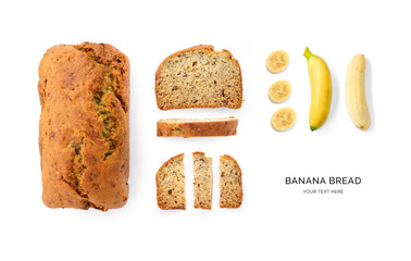 In de dag Brood Creative layout made of banana bread on the white background. Flat lay. Food concept. Macro concept.