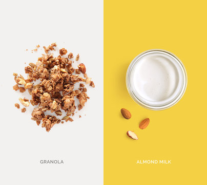 Creative layout made of granola and almond milk. Flat lay. Food concept. Macro concept.