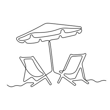Beach chairs and umbrella continuous line vector illustration.