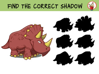 Triceratops dinosaur. Find the correct shadow. Educational game for children. Cartoon vector illustration