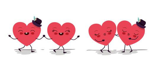 Happy valentines heart cartoons vector design