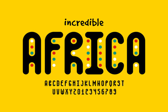 African style font design, alphabet letters and numbers