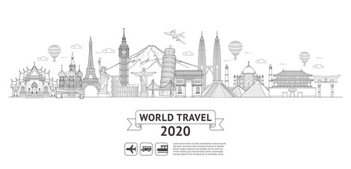World travel doodle art drawing style vector illustrations. Famous landmarks in the world. Fotomurales