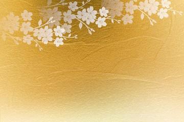 Wall Mural - 桜の花びらと金色の壁の背景