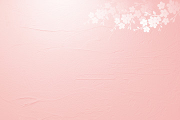 Wall Mural - 桜の花びらとピンクの壁の背景