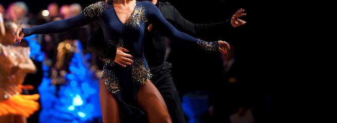 Foto auf Leinwand Tanzschule woman and man dancer latino international dancing
