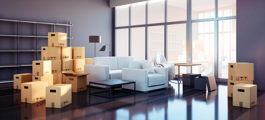 Stylishes Loft mit Kartons und Möbeln beim Einzug