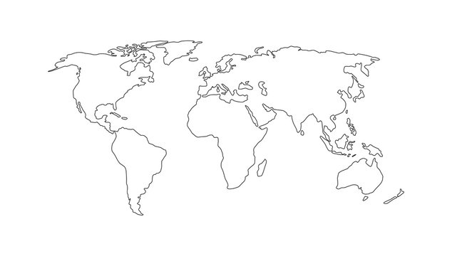 World map. Hand drawn simple stylized continents silhouette in minimal line outline thin shape. Vector illustration