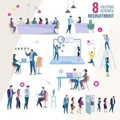 Business Personnel Recruitment Flat Vector Scenes