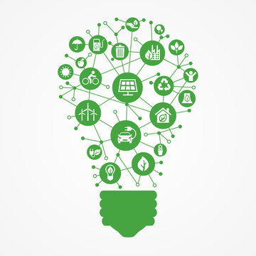 Renewable energy concept icon. Green electricity sources icons. Alternative energy background