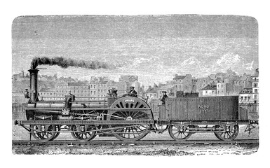 Fast train locomotive 19th century