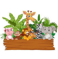 Cartoon wild animals holding blank board