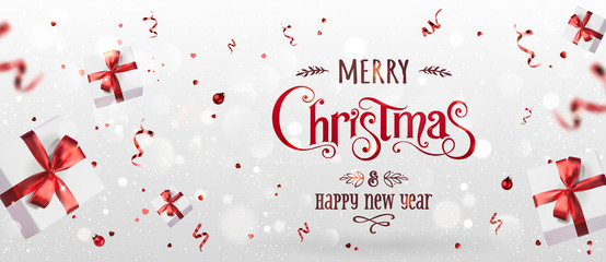 Fototapete - Red Christmas and New Year Text on Xmas background with flying gift boxes, red ribbon, decoration, sparkles, confetti, bokeh. Merry Christmas card. Vector Illustration, realistic vector