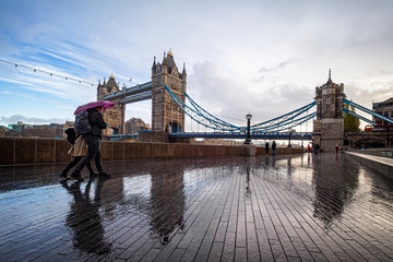 Morning scene in a rainy day in London at Tower Bridge