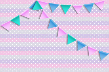 Baby shower card. Greeting card with bunting flags.