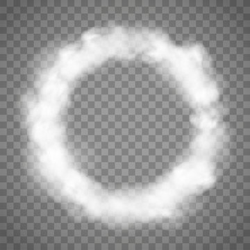 White abstract smoke texture. Circle frame template