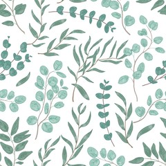 Eucalyptus leaves colorful seamless pattern. Foliage, green floral texture. Hand drawn plant branches and twigs background. Botanical wallpaper, fabric, textile, wrapping paper vector design.