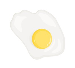Garden Poster Egg Omelette, fried egg vector illustration. Healthy eating, dietary product, good nutrition item. Breakfast dish, lunch meal top view. Egg protein and yolk isolated on white background.