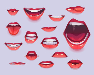 Woman mouth set. Red sexy lips expressing different emotions as happy smiling, shouting, show tongue, kiss, angry gritting teeth. Design elements, icons, stickers. Cartoon vector illustration clip art