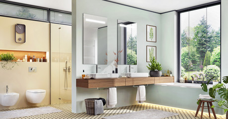 Modern bathroom with two sinks and bathtub. Large windows and glass shower door