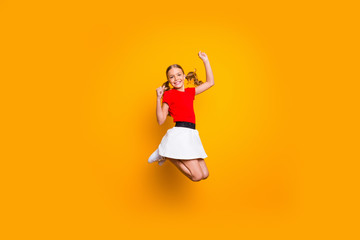 Keuken foto achterwand Wanddecoratie met eigen foto Full length photo of pretty little lady pretty long tails jumping high amazing good mood rejoicing weekend wear casual red white dress isolated yellow color background