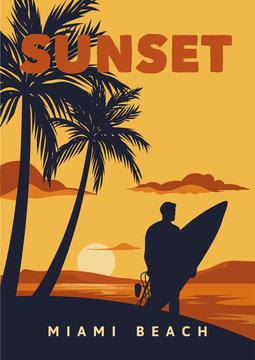 sunset miami beach poster illustration surfing vintage retro style