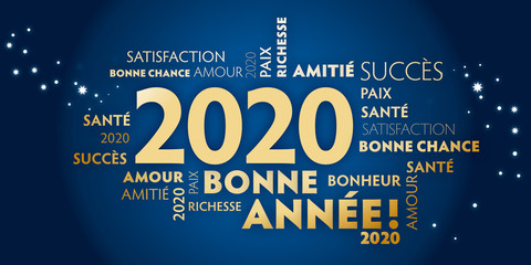 Carte de voeux – bonne année 2020 - bleu et dorée.
