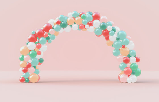 Christmas arch frame with fancy candy ballloons backdrop. Christmas background. 3d rendering.